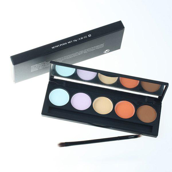 Professional 5 Colours Concealer Makeup Palette with Mirror and Brush - COLORMIX