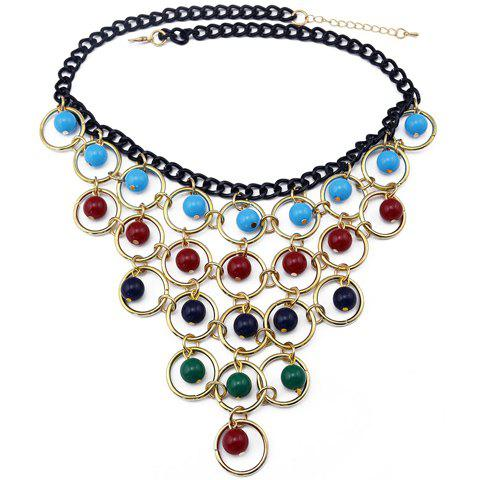 Chic Colored Beads Necklace For Women - COLORMIX