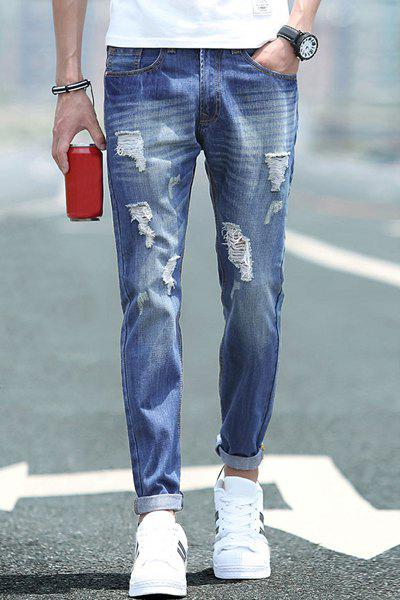 Holes Design Slimming Zipper Fly Narrow Feet Men's Denim Pants - DEEP BLUE 33