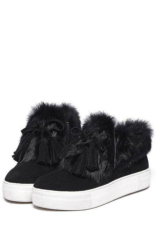 Casual Faux Fur and Tassels Design Women's Ankle Boots - BLACK 36