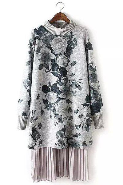 Stylish Round Collar Long Sleeve Spliced Floral Print Women's Dress