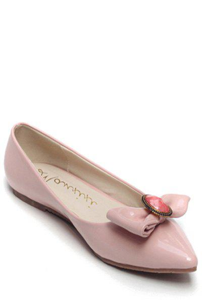 Sweet Bow and Faux Gem Design Women's Flat Shoes - PINK 36
