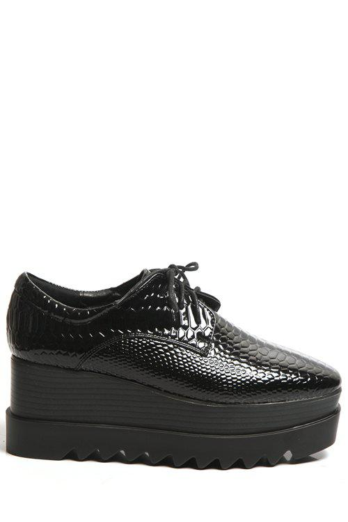Trendy Embossing and Lace-Up Design Women's Platform Shoes - BLACK 36