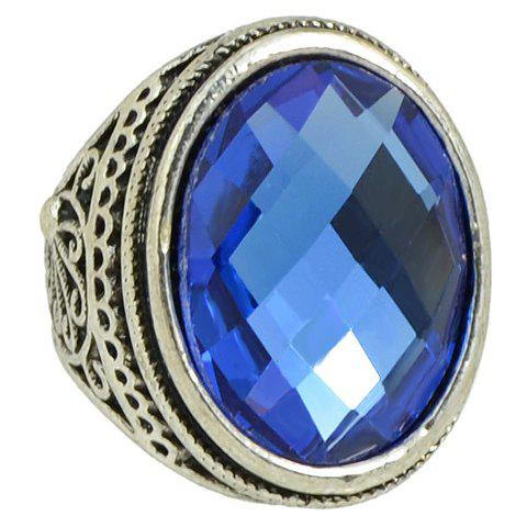 Faux Crystal Carved Ring - BLUE ONE-SIZE