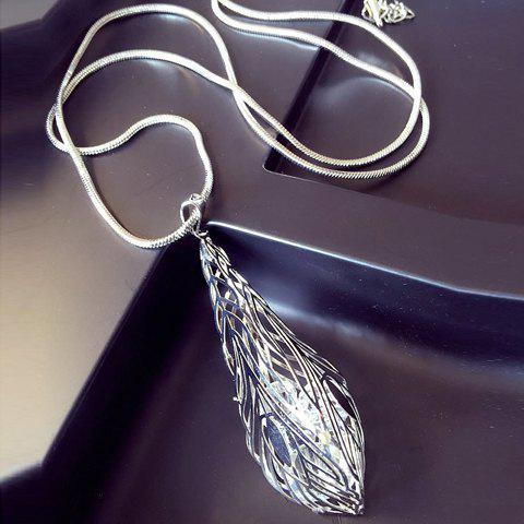 Vintage Faux Crystal Leaf Hollow Out Sweater Chain For Women - SILVER