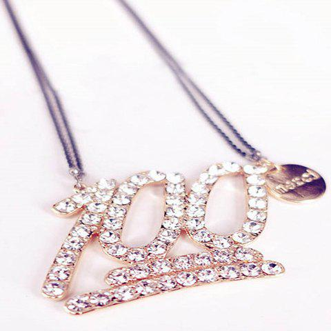 Chic Rhinestoned One Hundred Score Shape Pendant Sweater Chain For Women - GOLDEN