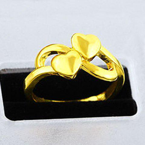 Noble Heart Shape Solid Color Cuff Ring For Women - ONE-SIZE GOLDEN