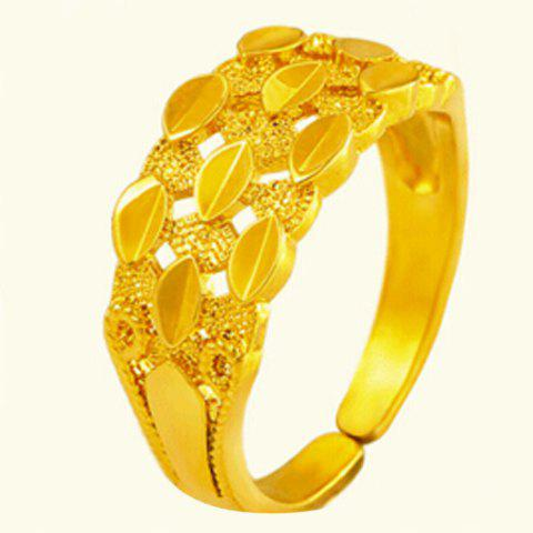 Noble Hollow Out Solid Color Cuff Ring For Women - GOLDEN ONE-SIZE
