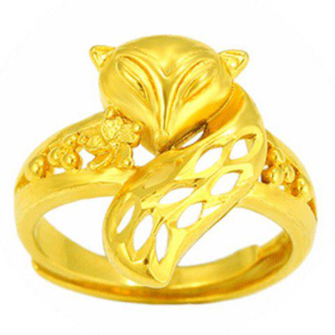 Noble Solid Color Fox Shape Cuff Ring For Women - GOLDEN ONE-SIZE