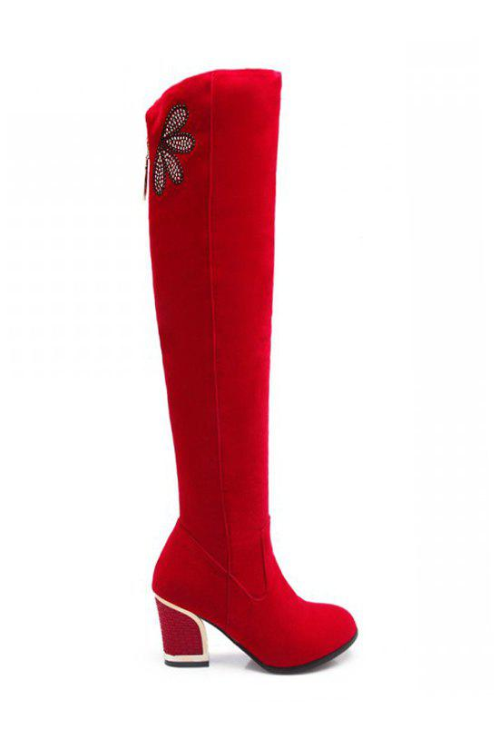 Trendy Flock and Rhinestone Design Women's Thigh High Boots - RED 38