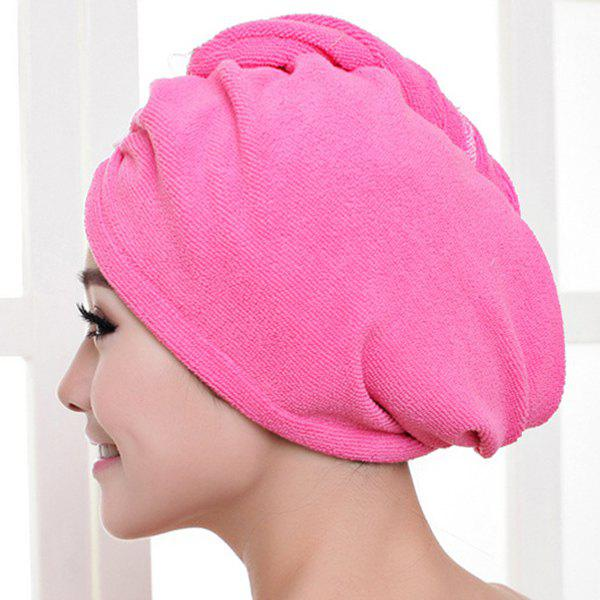 Soft Solid Color Triangle Design Super Absorbent Dry Hair Towel Bathing Cap - ROSE