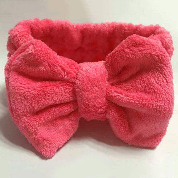 Fashionable Coral Fleece Bowknot Design Soft Bathing Headband - ROSE