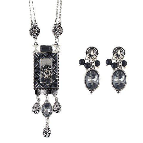 A Suit of Vintage Faux Crystal Geometric Necklace and Earrings For Women - SILVER