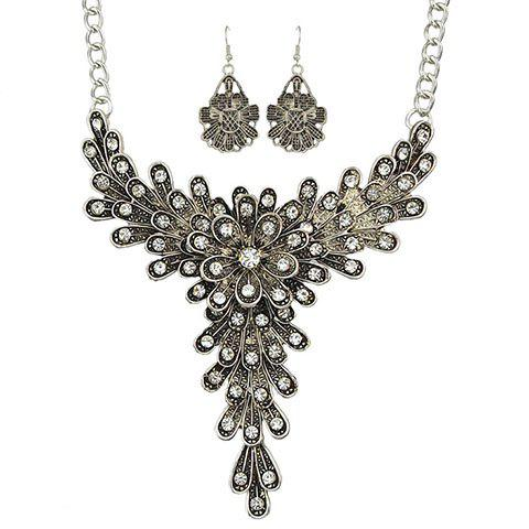 A Suit of Vintage Rhinestoned Flower Necklace and Earrings For Women - SILVER