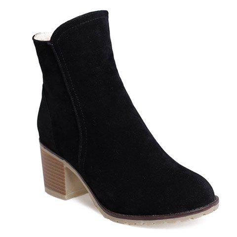 Fashionable Suede and Chunky Heeled Design Short Boots For Women - BLACK 36