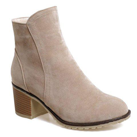 Fashionable Suede and Chunky Heeled Design Short Boots For Women - APRICOT 38