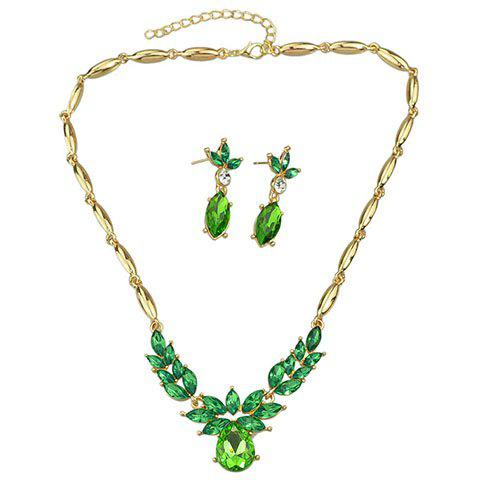 A Suit of Charming Faux Crystal Oval Shape Necklace and Earrings For Women - GREEN