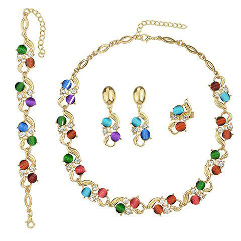 A Suit of Charming Faux Crystal Necklace Bracelet and Earrings For Women