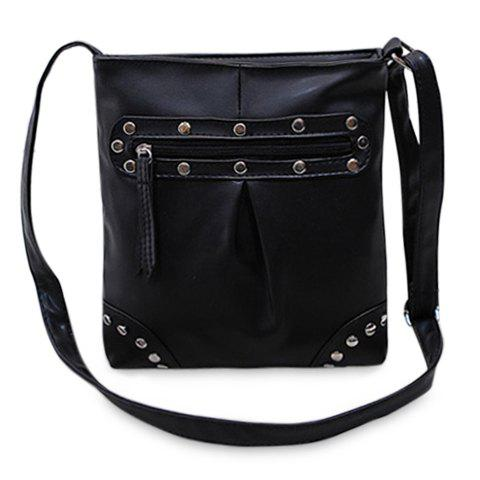 Fashion Rivets and Solid Colour Design Shoulder Bag For Women - BLACK