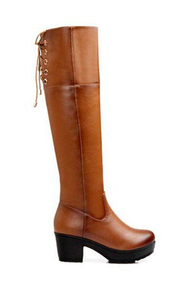 Trendy Lace-Up and Chunky Heel Design Women's Knee-High Boots - BROWN 37