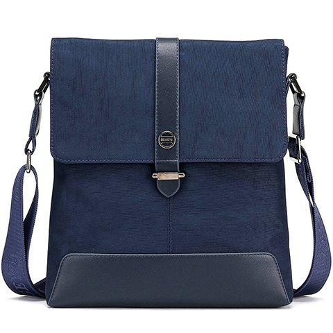 Simple PU Leather and Solid Colour Design Messenger Bag For Men - DEEP BLUE