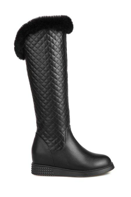 Trendy Checked and Stitching Design Women's Mid-Calf Boots