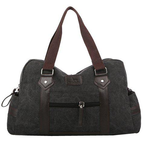 Leisure Zipper and Canvas Design Messenger Bag For Men - BLACK