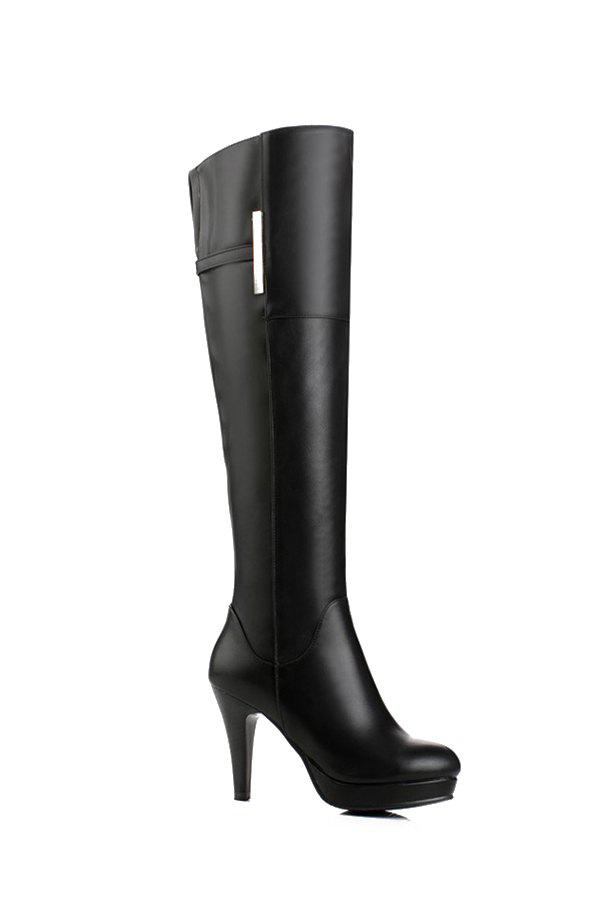 Concise Metal and Cone Heel Design Women's Knee-High Boots - 39 BLACK