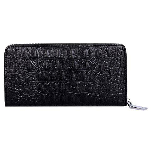 Fashion Solid Colour and Crocodile Print Design Clutch Bag For Men - BLACK