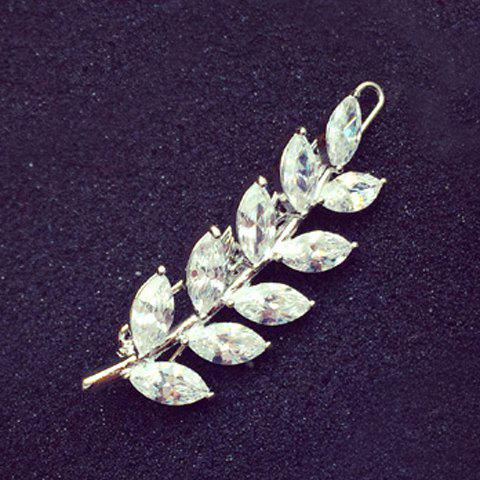 Chic Rhinestone Leaf Shape Hairpin For Women - SILVER