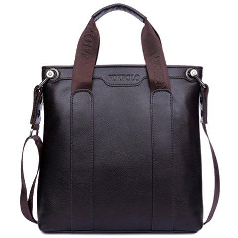 Fashionable Solid Colour and Zipper Design Briefcase For Men - BROWN