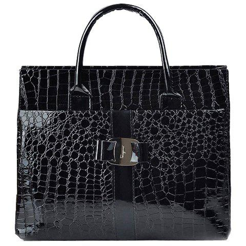 Casual Embossing and Metal Design Tote Bag For Women - BLACK