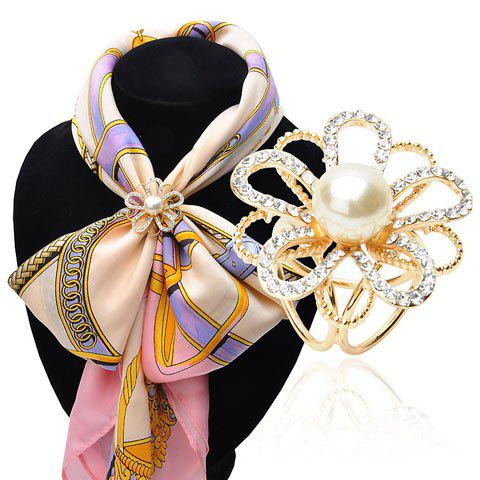 Graceful Faux Pearl Rhinestoned Floral Hollow Out Brooch For Women