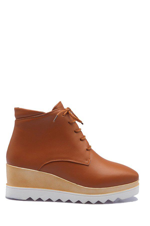Trendy Square Toe and Platform Design Women's Short Boots - BROWN 40