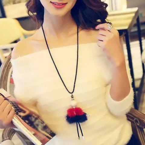 Sweet Ball Plush Figure Shape Sweater Chain For Women - RED