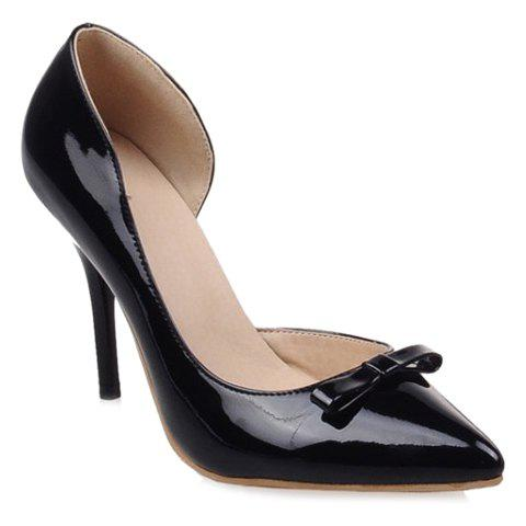 Graceful Bowknot and Solid Colour Design Pumps For Women - BLACK 39
