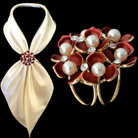 Chic Rhinestone Faux Pearl Blossom Brooch For Women - RED