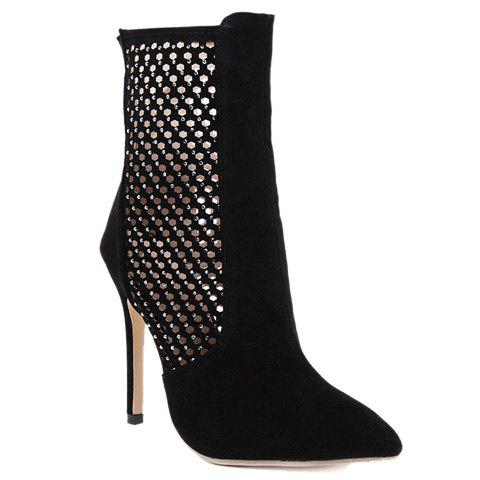 Fashion Hollow Out and Rhinestones Design Short Boots For Women - 36 BLACK