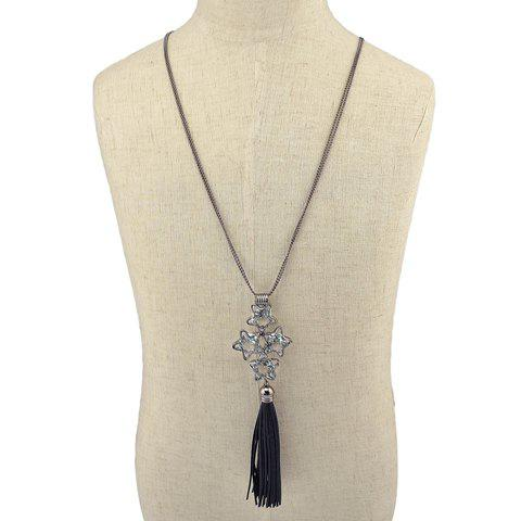 Vintage Faux Crystal Artificial Leather Tassel Pentagram Sweater Chain For Women -  SILVER