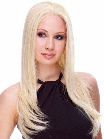 Fluffy Natural Wavy Stunning Blonde Centre Parting Synthetic Vogue Long Women's Wig - LIGHT GOLD