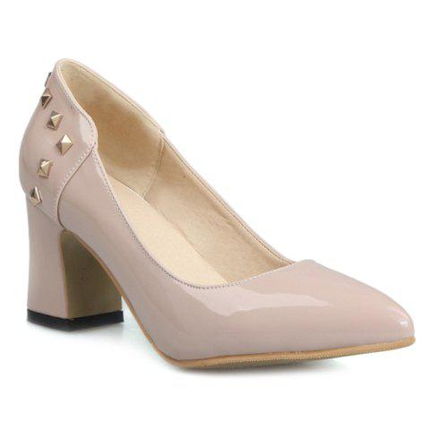 Fashionable Pointed Toe and Metal Design Pumps For Women - APRICOT 39