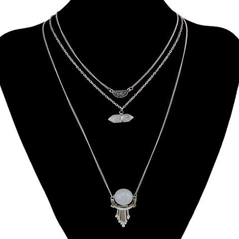 Charming Three-Layered Hollow Out Ball Pendant Sweater Chain For Women - SILVER