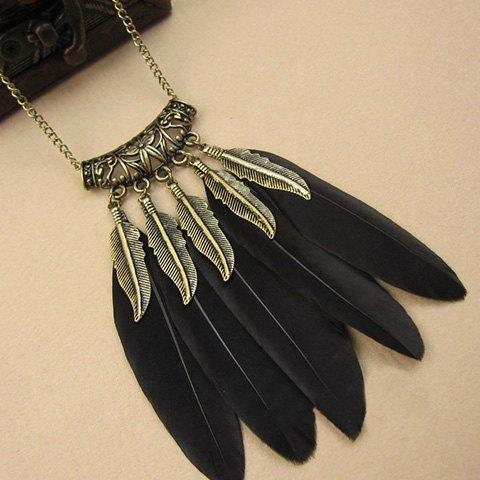 Chic Feather Carving Floral Pattern Hollow Out Sweater Chain For Women - BLACK