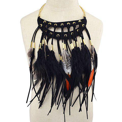 Vintage Faux Leather Feather Necklace For Women -  BLACK