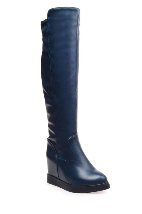 Concise Hidden Wedge and Solid Color Design Women's Knee-High Boots - BLUE 43