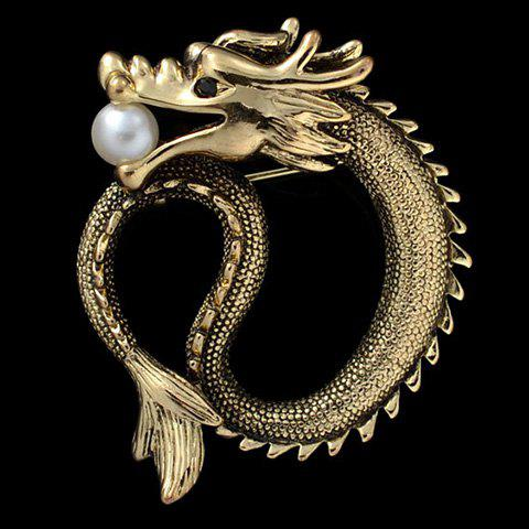 Fake Pearl Dragon Shape Brooch - GOLDEN