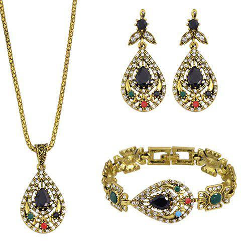 A Suit of Charming Faux Crystal Water Drop Necklace Bracelet and Earrings For Women - BLACK