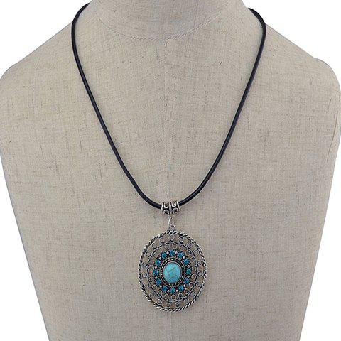 Faux Turquoise Hollow Out Round Pendant Necklace - GREEN