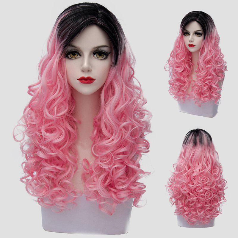 Fluffy Curly Charming Black Ombre Pink Synthetic Vogue Long Women's Cosplay Wig - BLACK/PINK