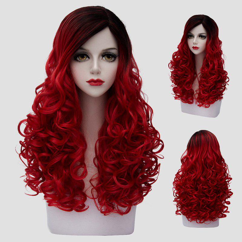Shaggy Curly Synthetic Fashion 60CM Long Stunning Black Red Gradient Women's Cosplay Wig - RED/BLACK